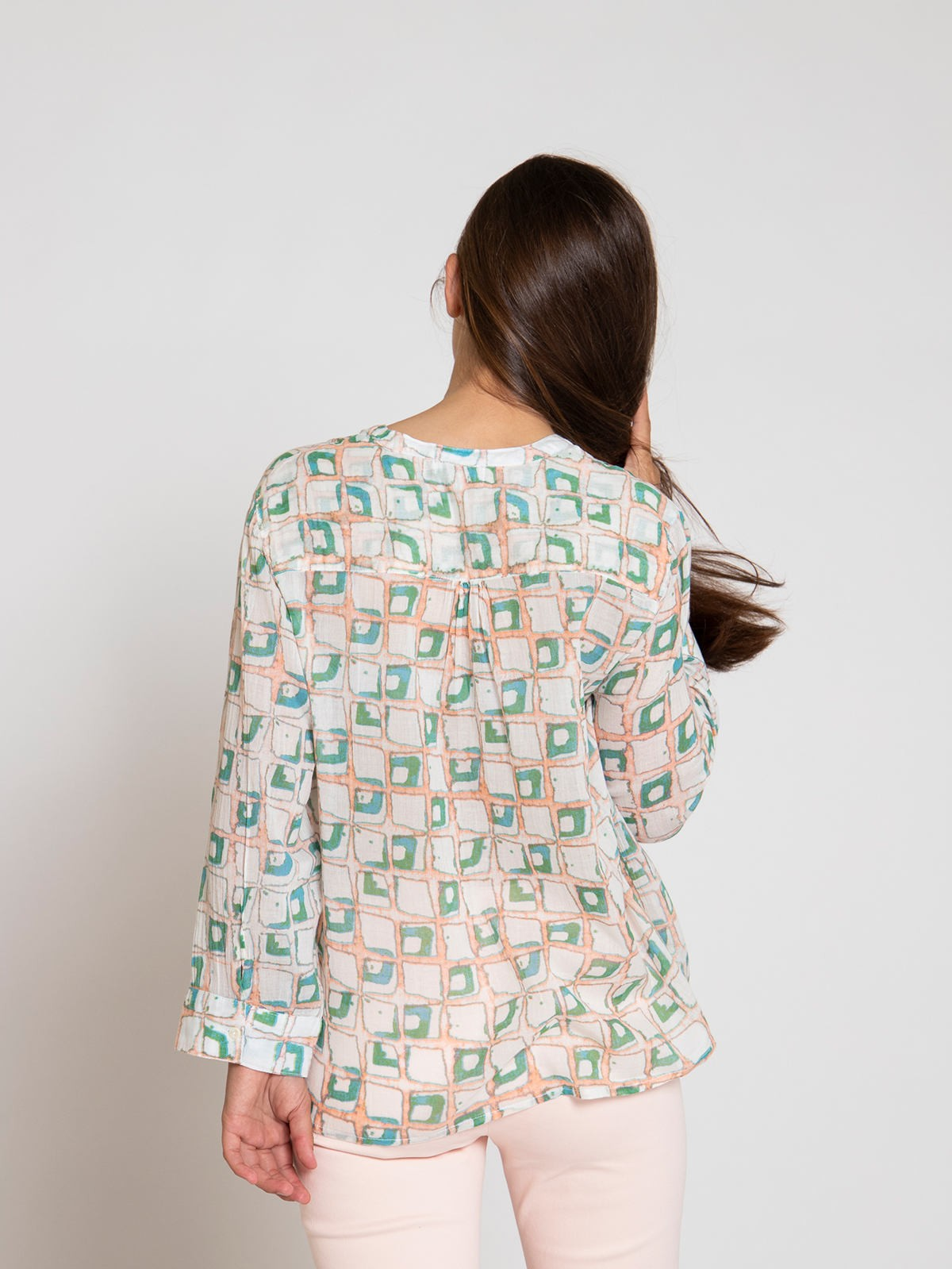 Woman Woman Cotton pleated blouse Pink