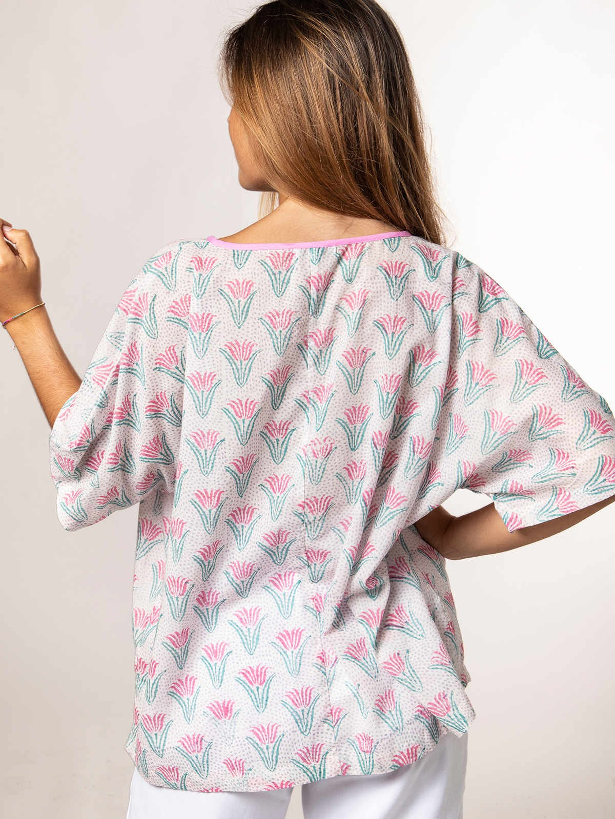 Woman Oversized printed blouse Pink/Aqua