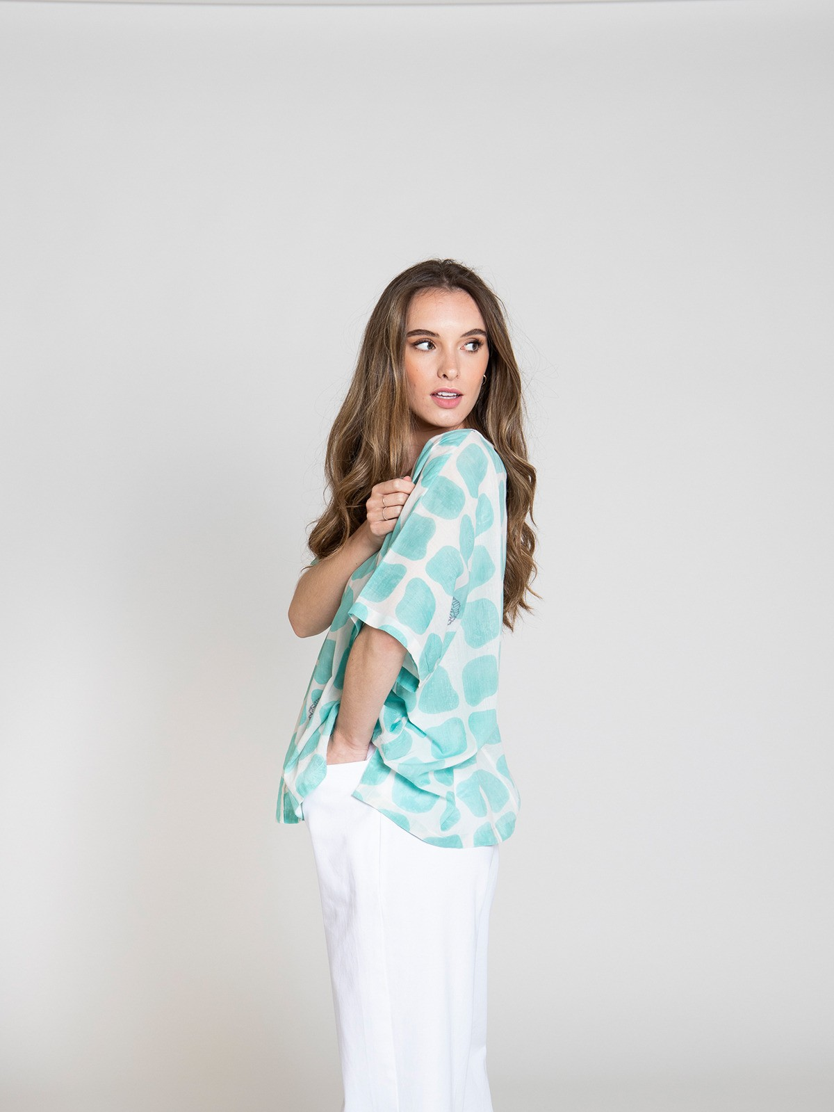 Blusa oversize estampada mujer Verde claro