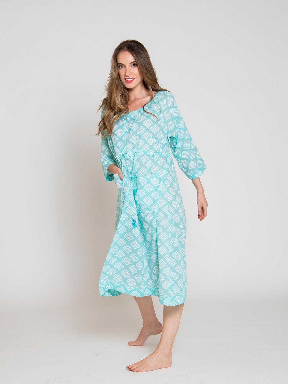 Vestido midi estampado algodón mujer Aqua