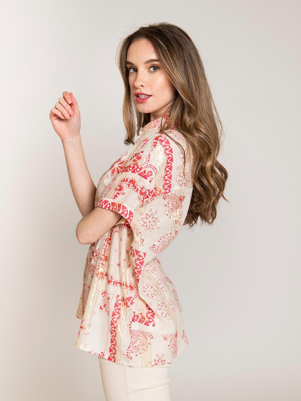 Camisa estampada patchwork brillo mujer Coral
