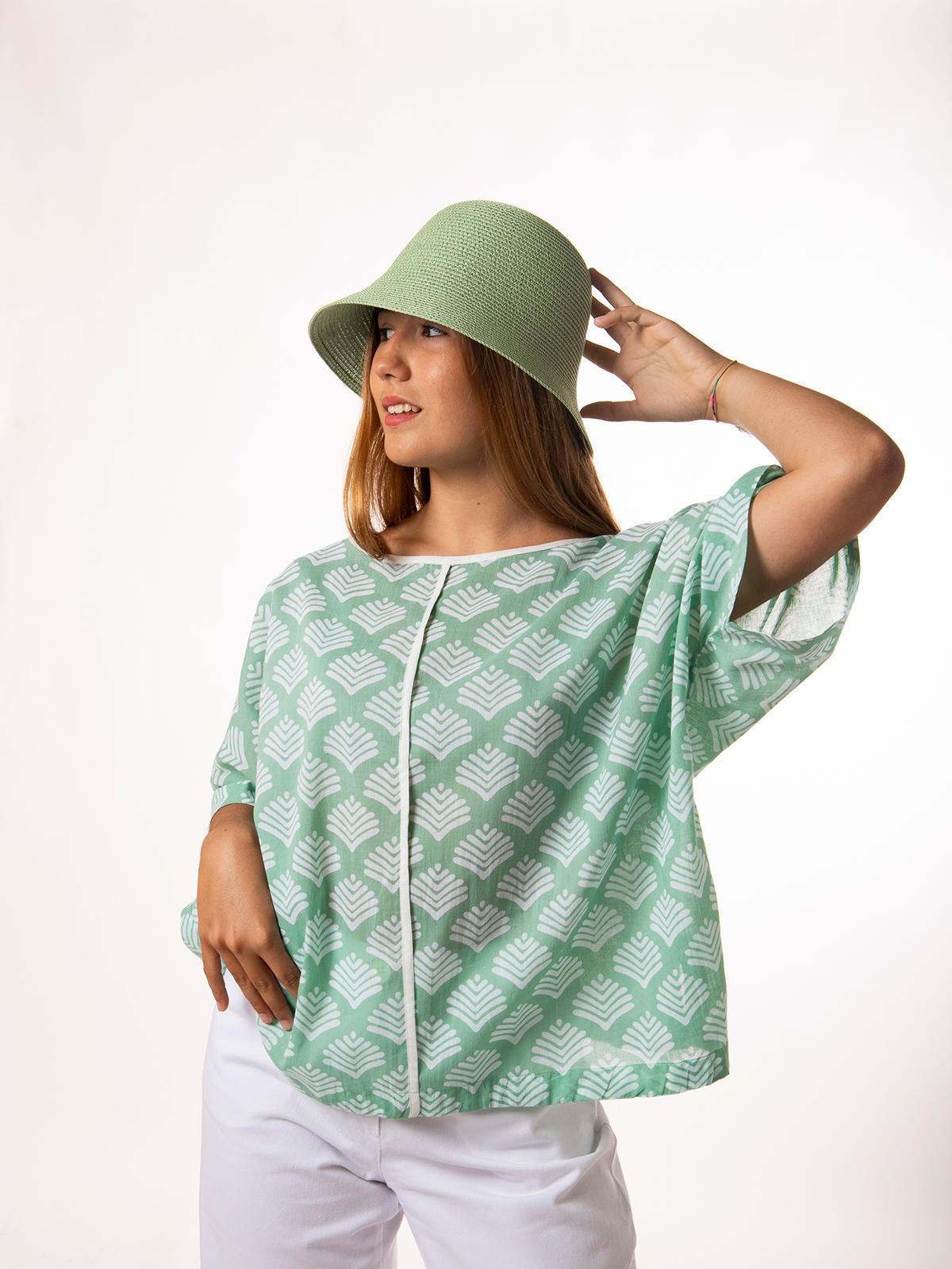 Woman Oversized printed blouse Aqua claro