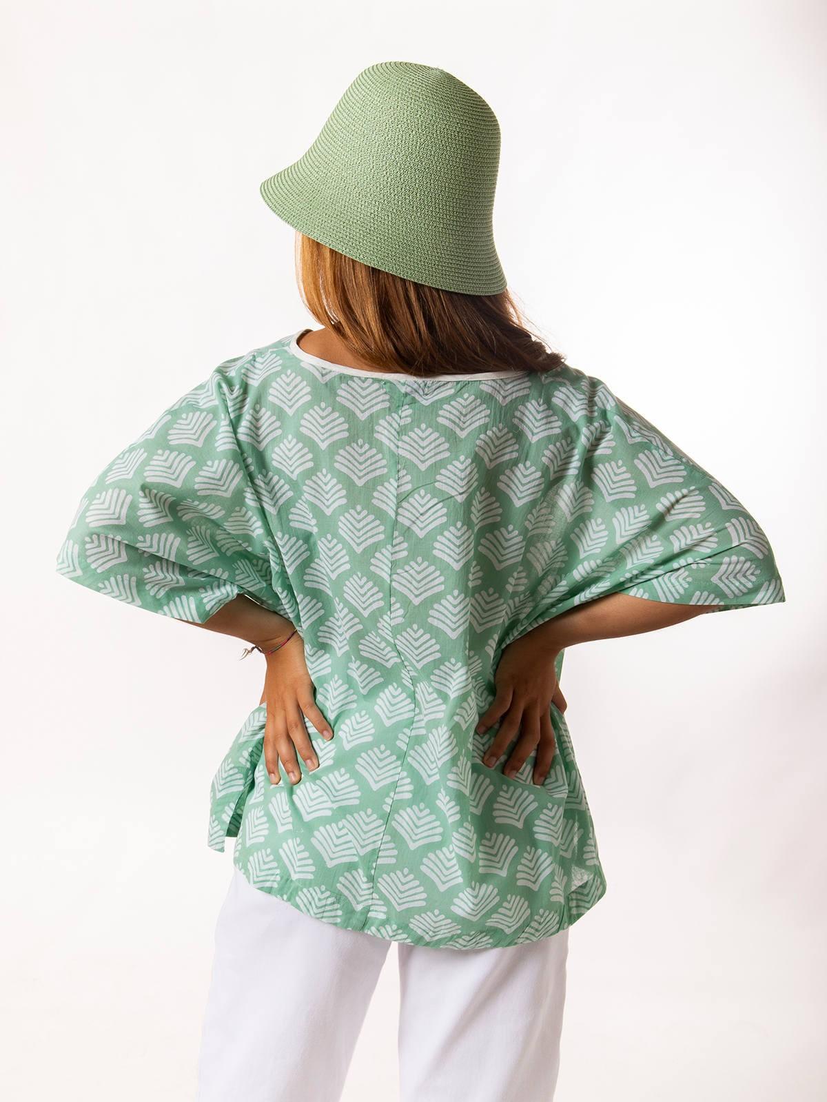 Blusa oversize estampada mujer Aqua claro
