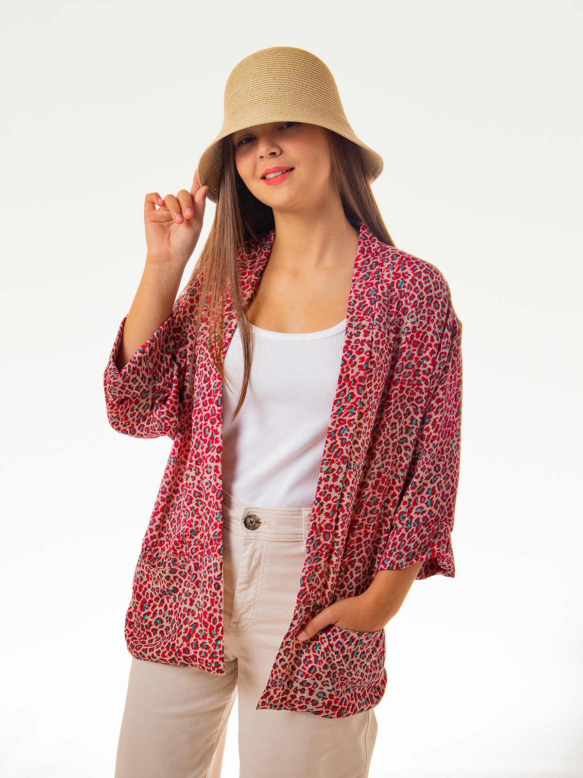 Woman Woman Flowy printed jacket ROJOS