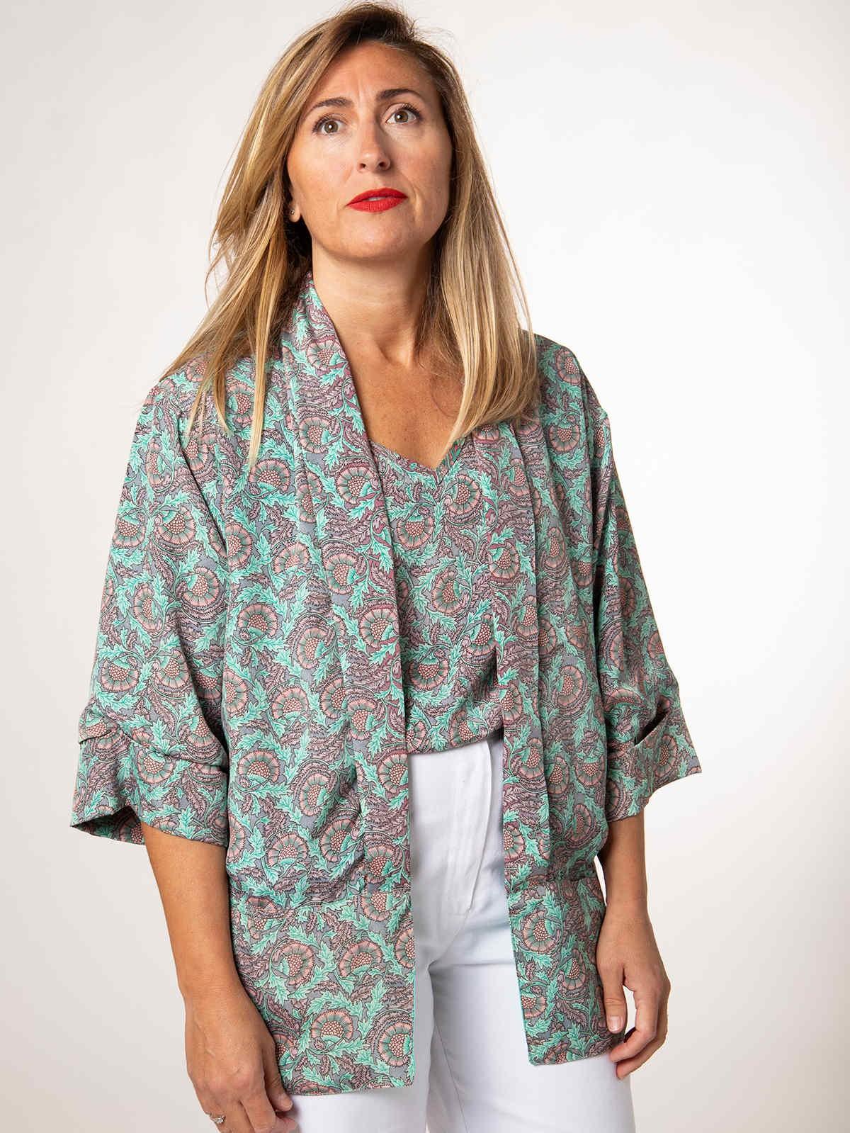 Woman Woman Flowy printed jacket AQUAS