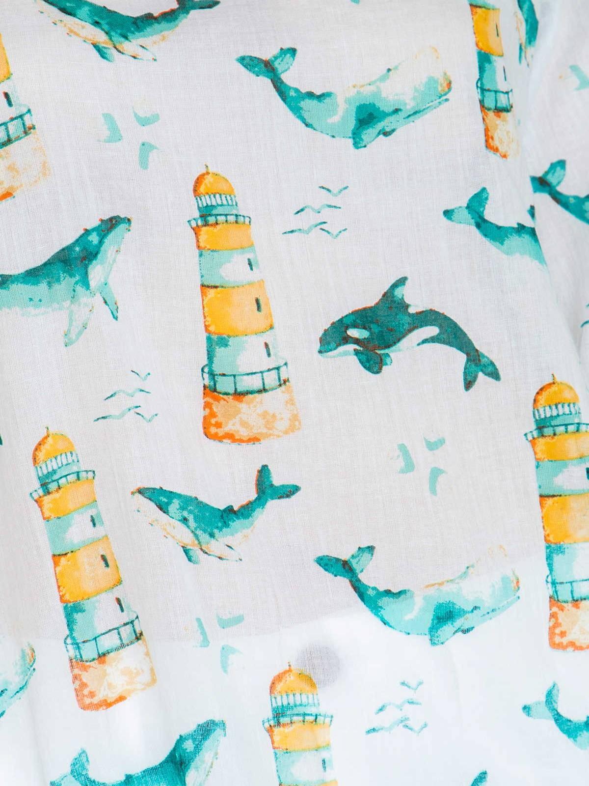 Woman Woman Sea print blouse Aqua