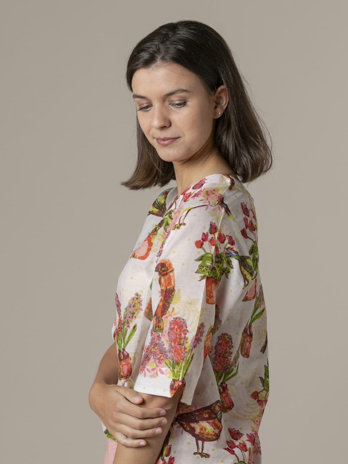 Woman Woman Glitter birds print blouse White