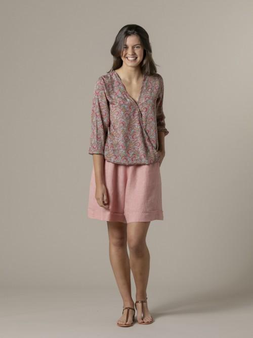 Woman Woman 100% linen bermuda Pink