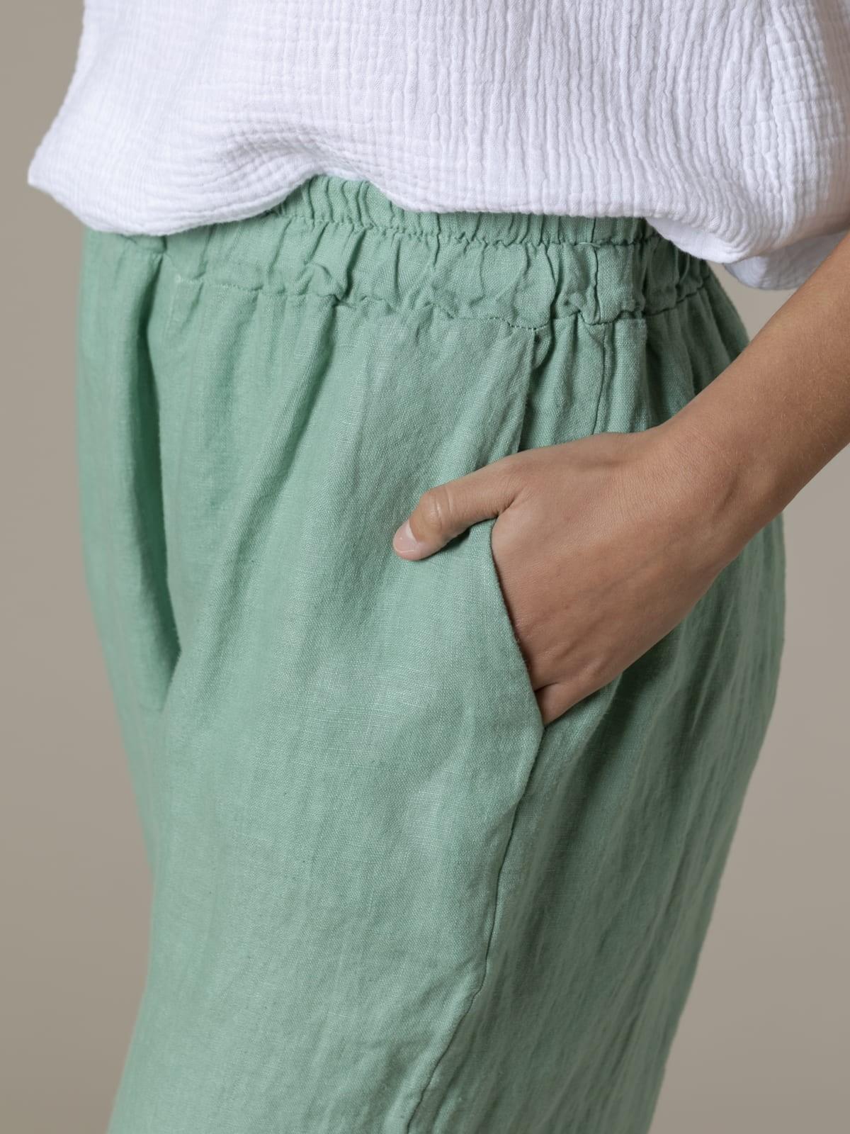 Patalón mujer de lino 100% Aqua