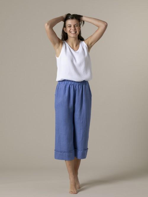 Woman Woman 100% linen pant Blue
