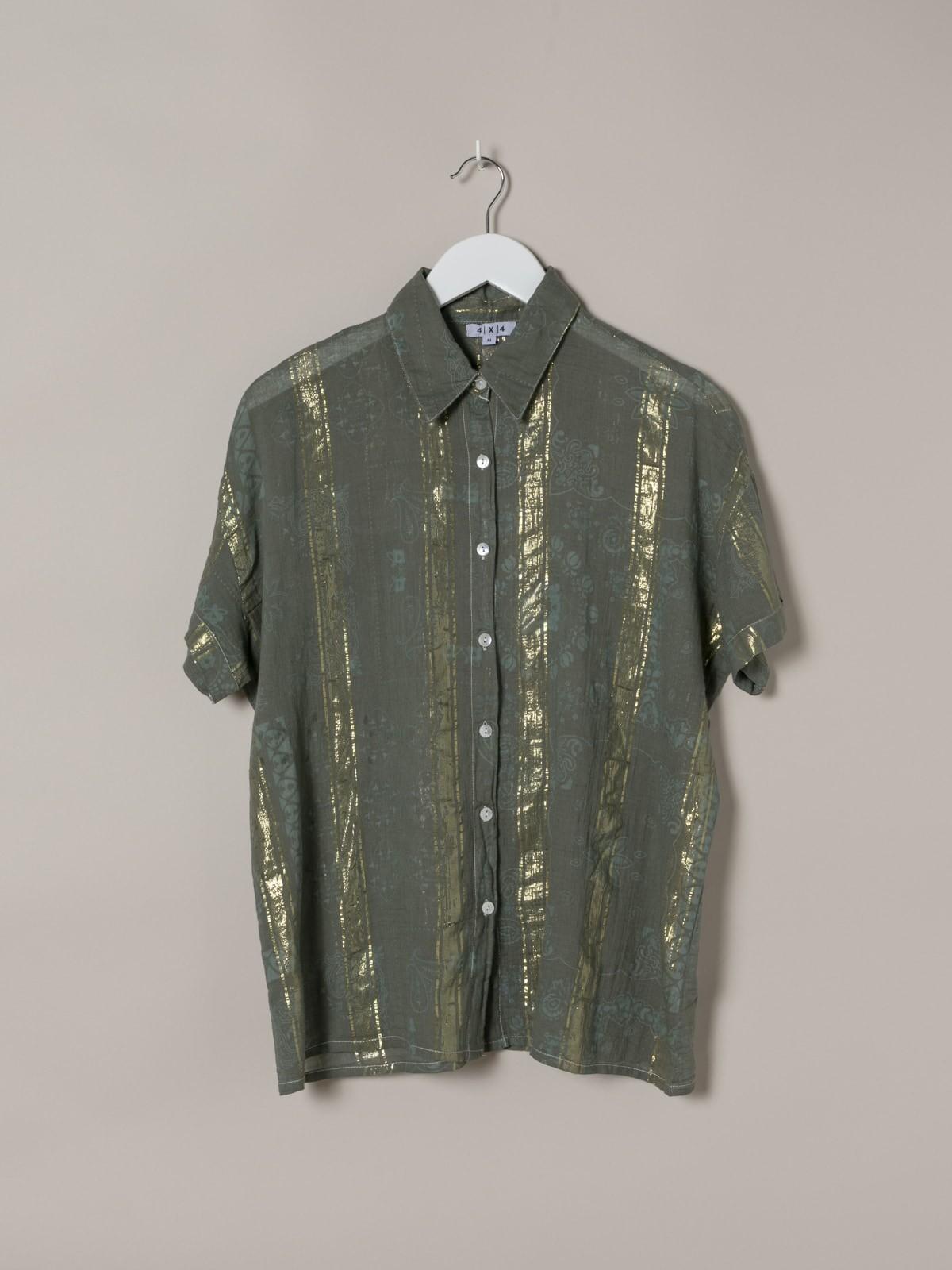 Camisa estampada patchwork brillo mujer Caqui