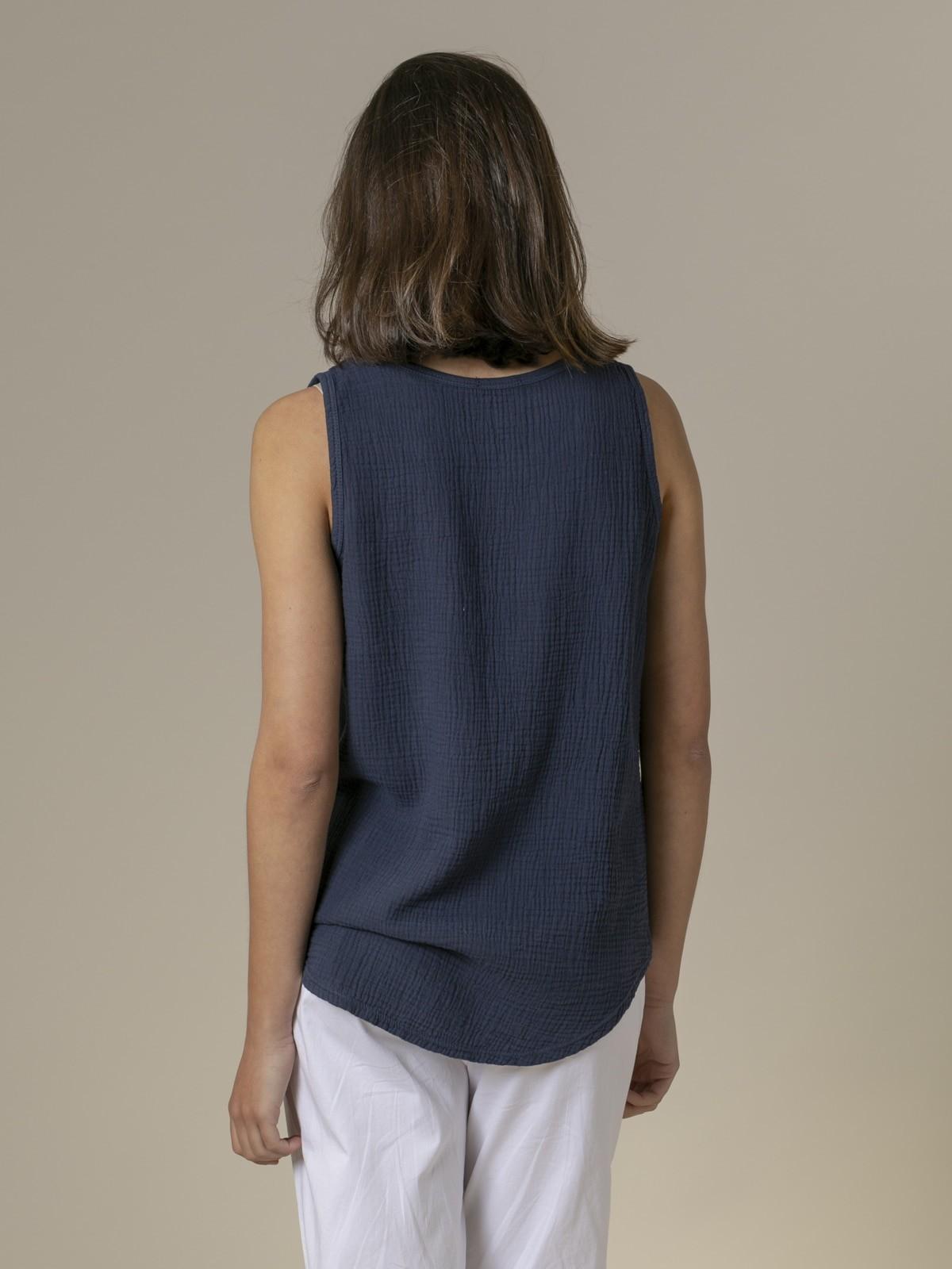 Top de algodón arrugado Azul Marino