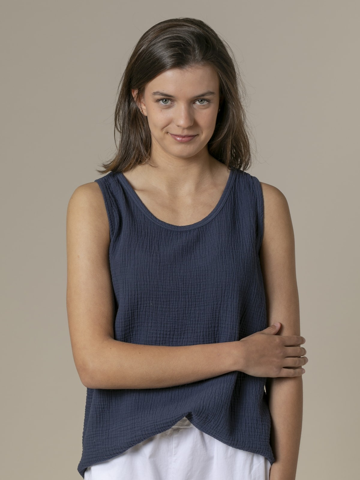 Woman Woman Crinkled cotton top Blue Navy