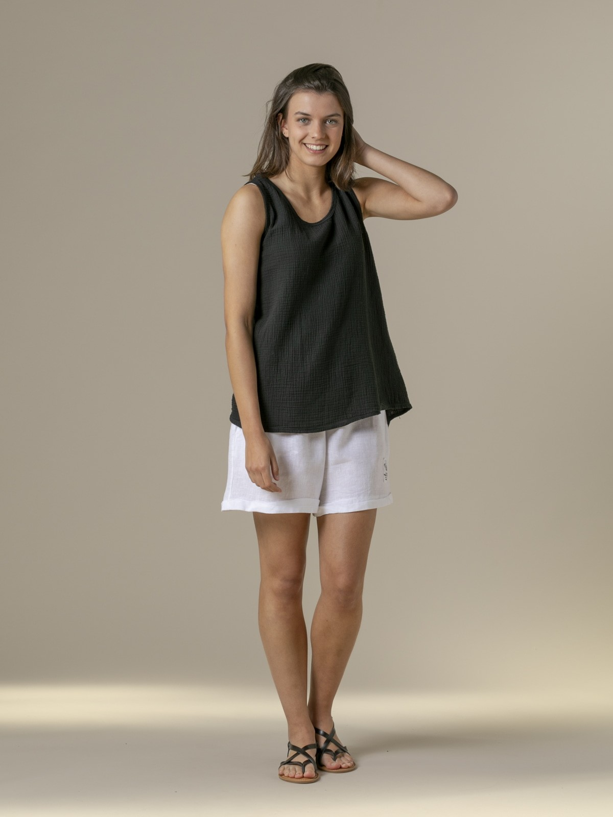 Woman Woman Crinkled cotton top Black