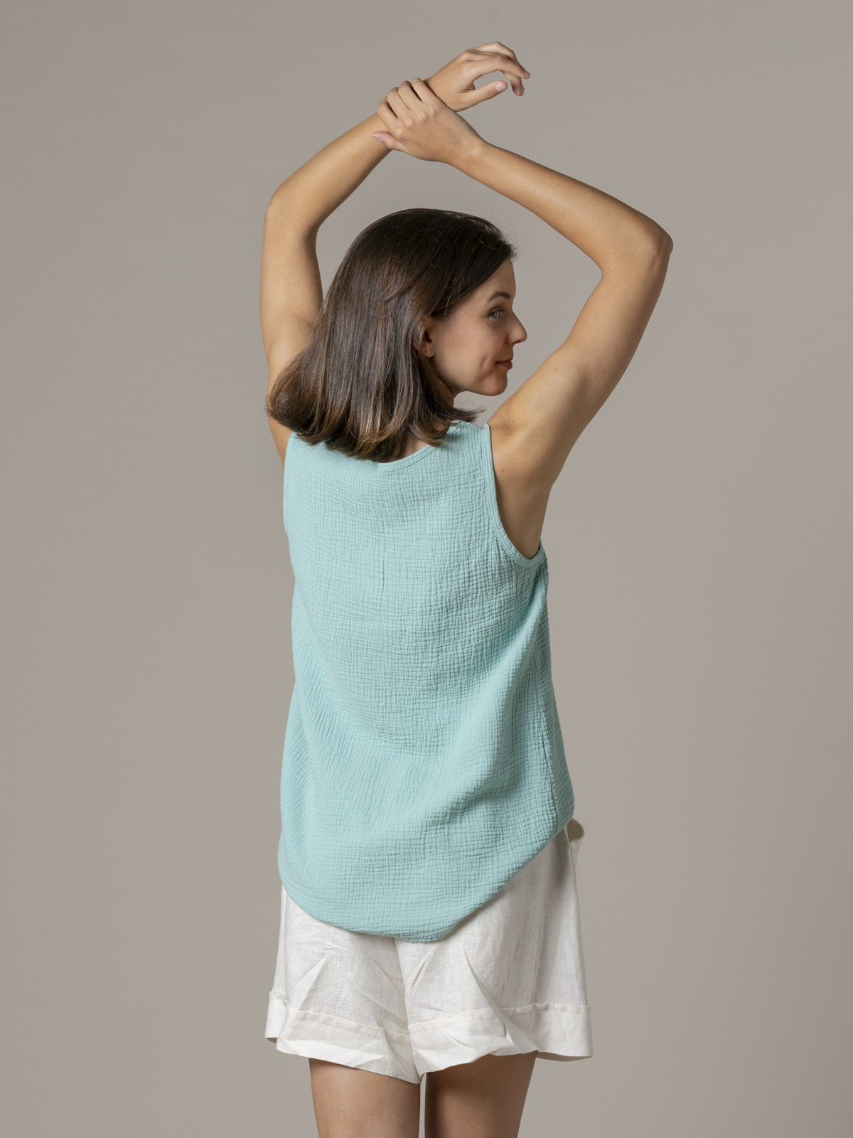 Woman Woman Crinkled cotton top Aqua