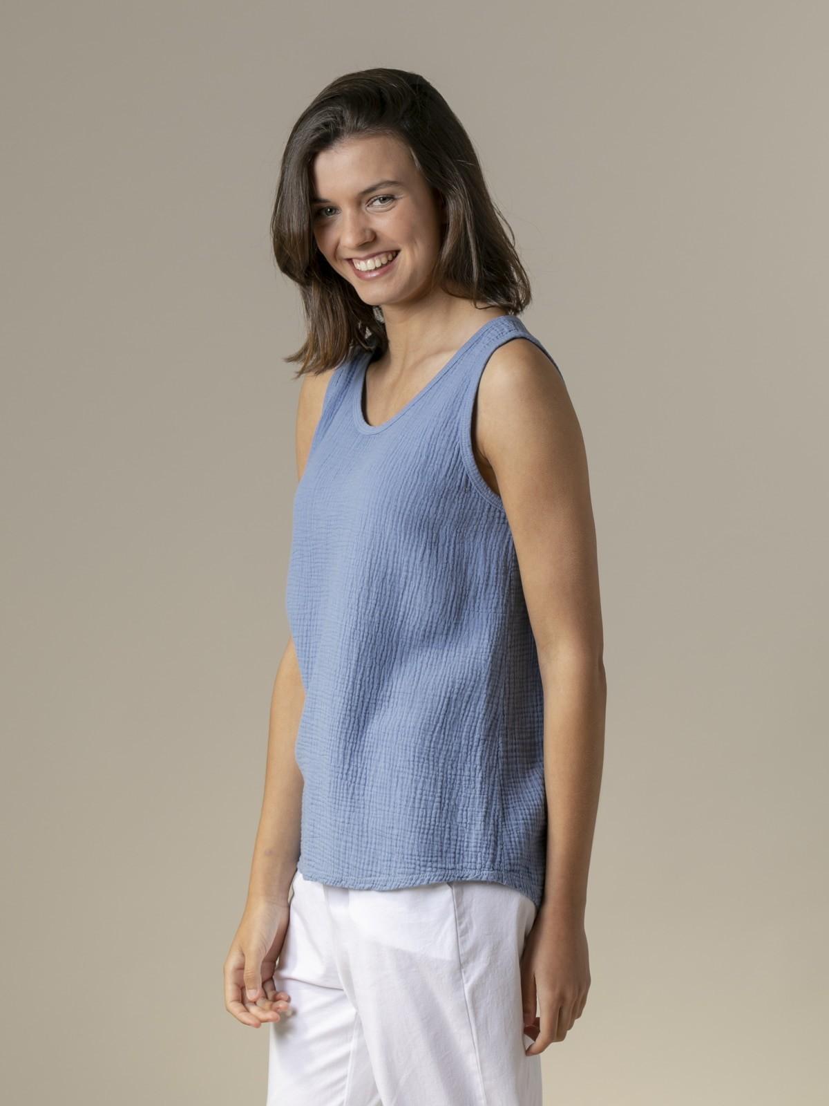 Top de algodón arrugado Azul Jean