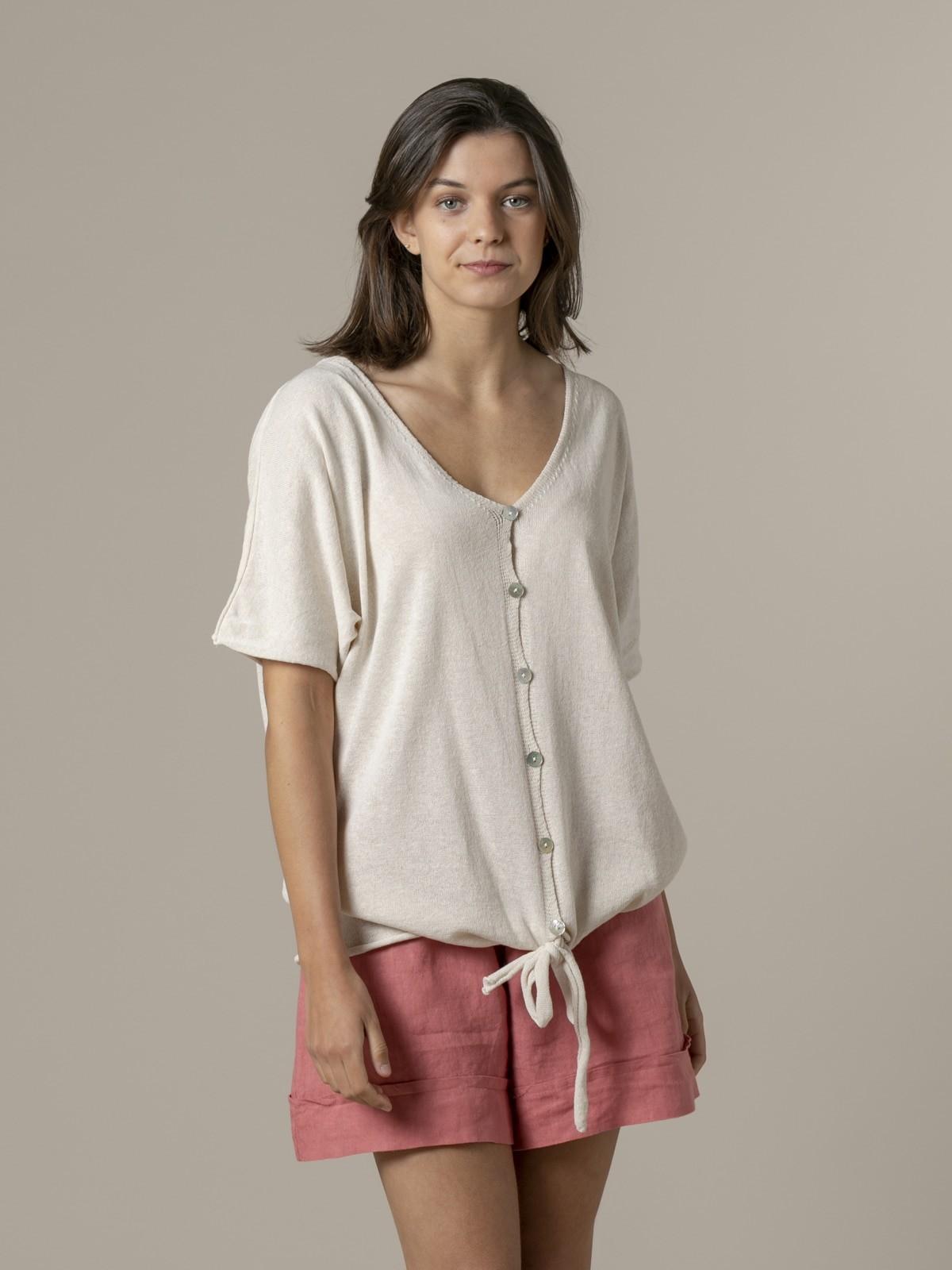 Woman Woman Cotton knit jacket Marfil