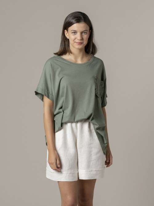 Woman Special pocket t-shirt Khaki