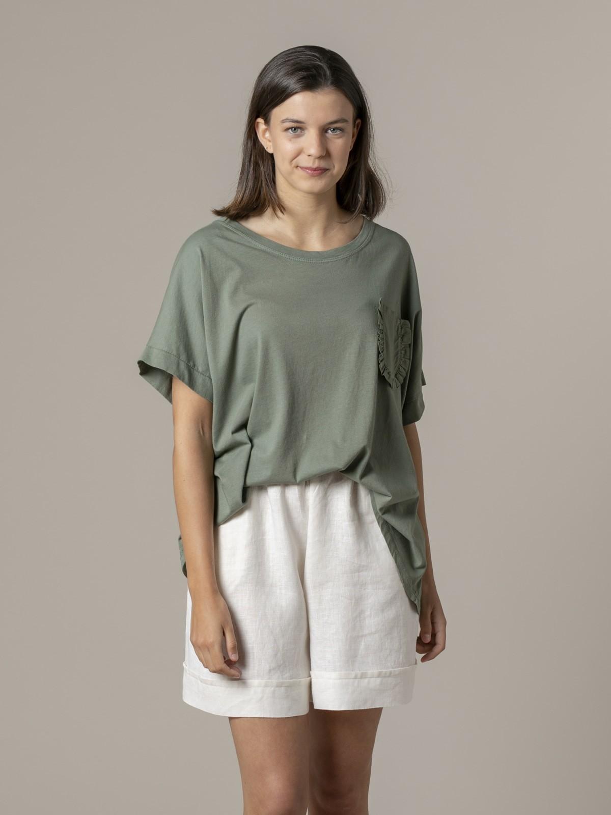 Camiseta mujer bolsillo especial Caqui