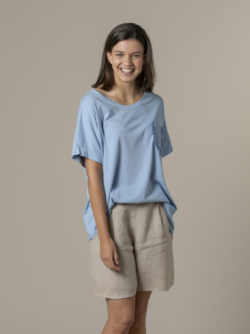 Camiseta mujer bolsillo especial Azul