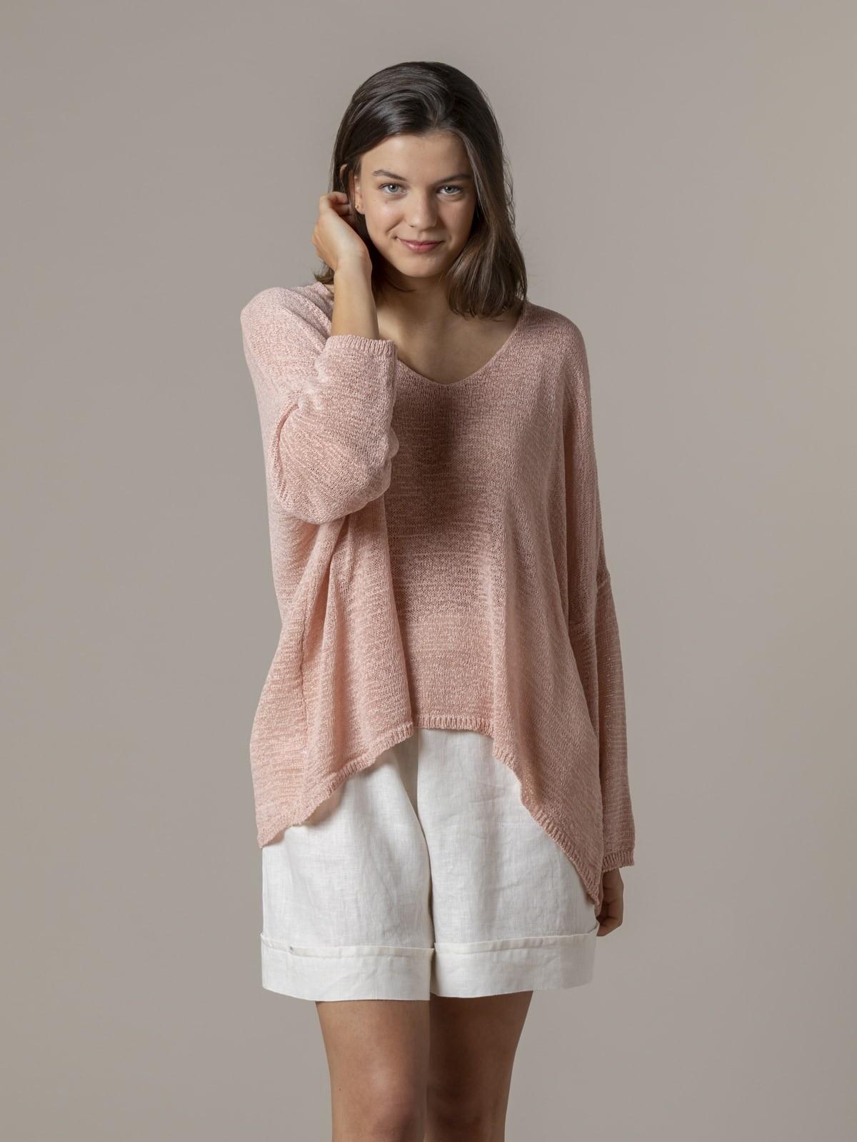 Woman Woman Lightweight ribbon knit sweater Pink