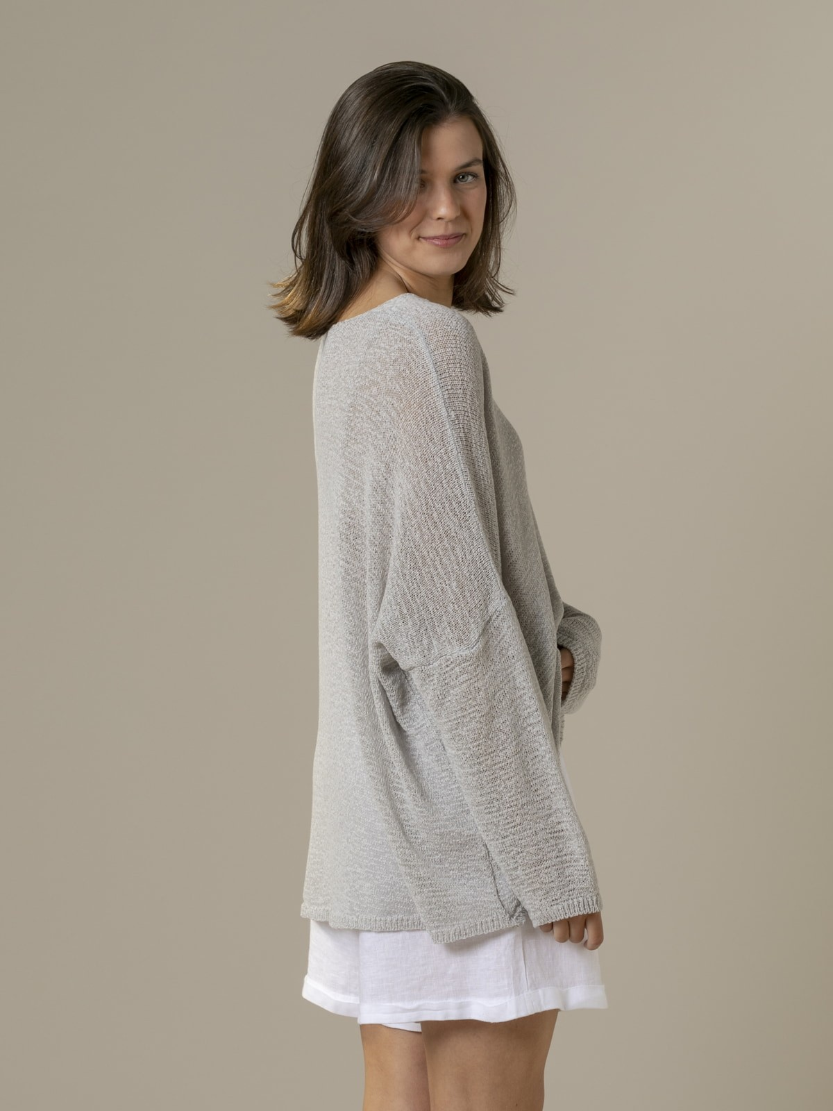 Woman Woman Lightweight ribbon knit sweater Grey