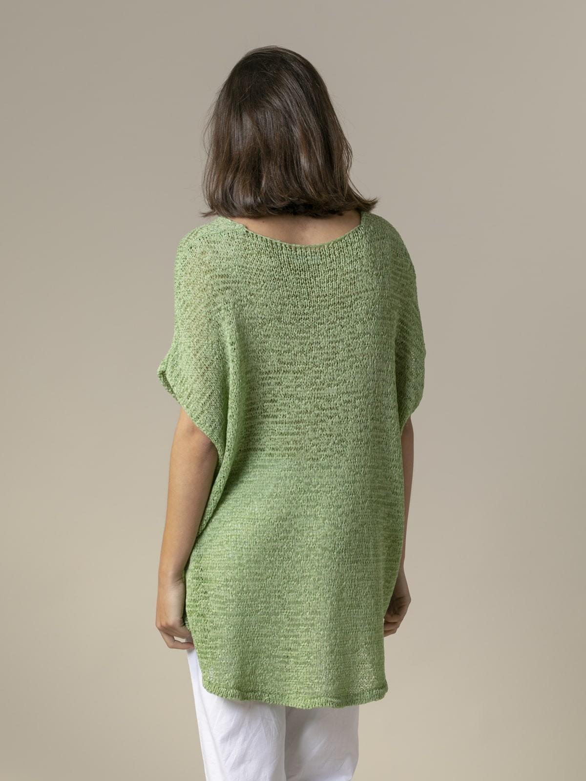 Chaleco mujer de punto mensaje nice Verde
