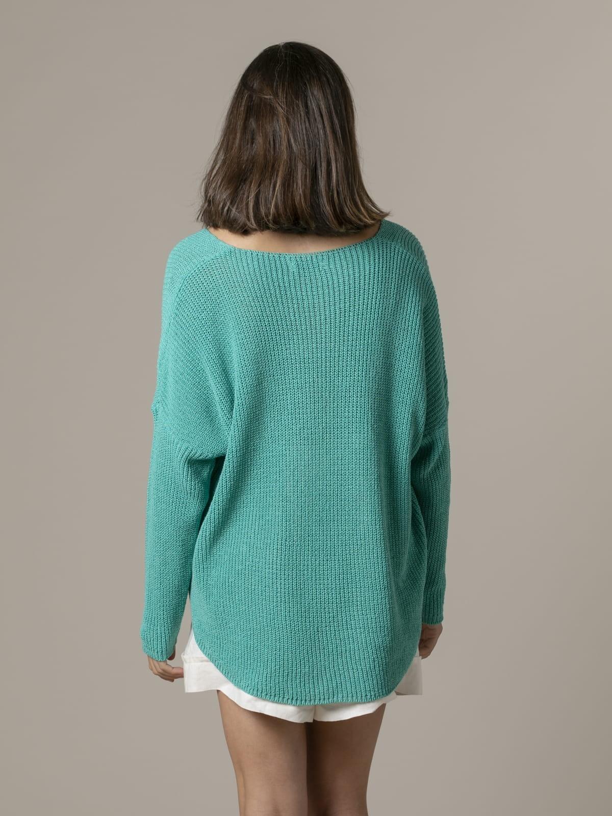 Woman Woman V-neck ribbon knit sweater Green
