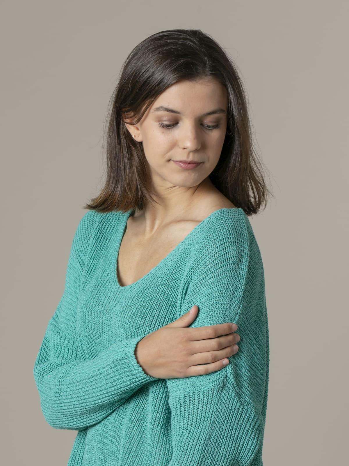 Jersey mujer punto cinta cuello pico Verde