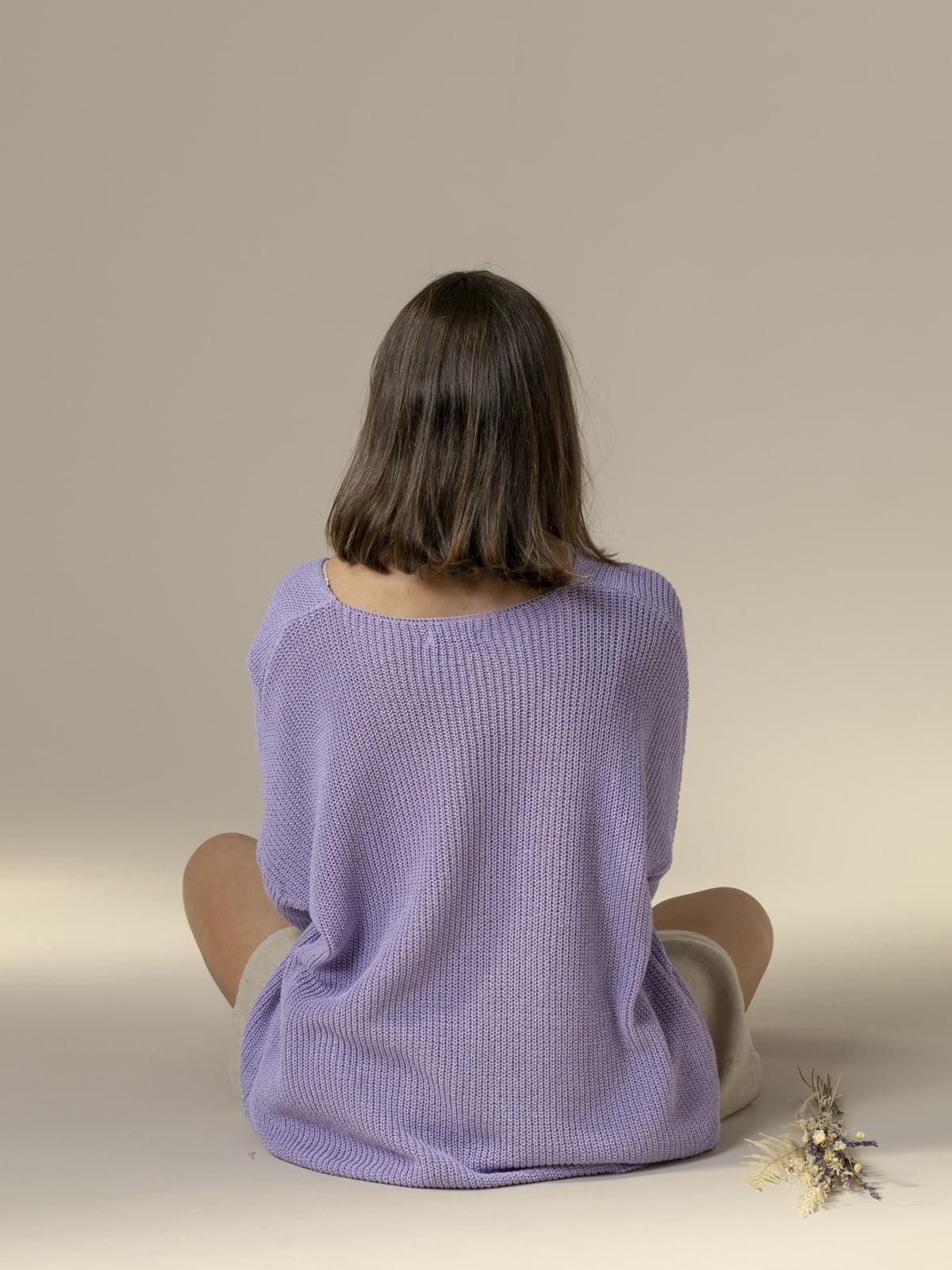 Jersey mujer punto cinta cuello pico Lila