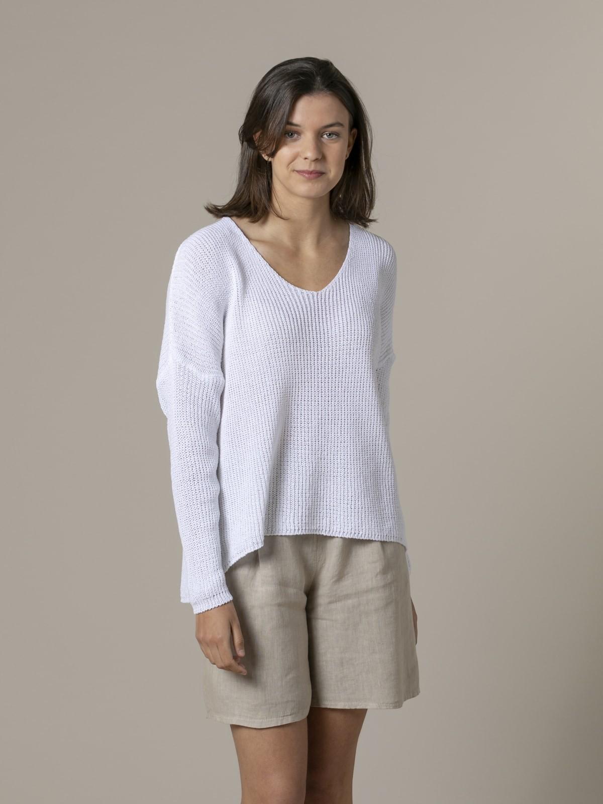 Jersey mujer punto cinta cuello pico Blanco