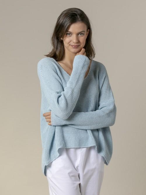 Woman Woman V-neck ribbon knit sweater Blue