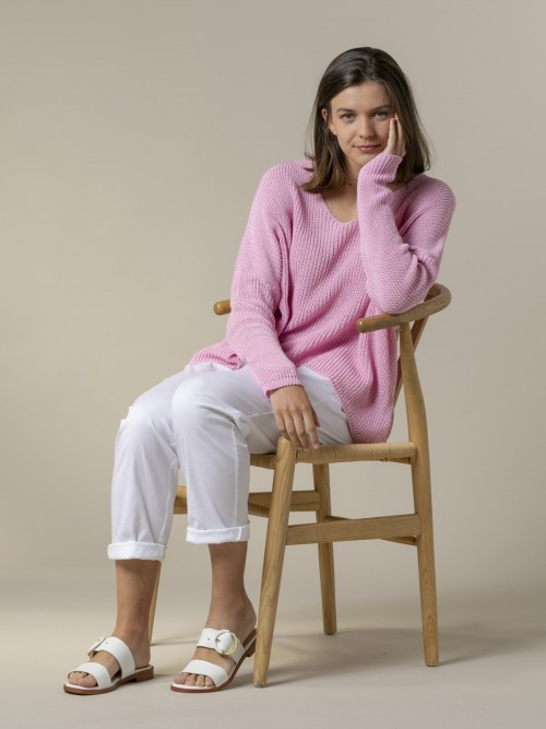 Woman Woman V-neck ribbon knit sweater Pink