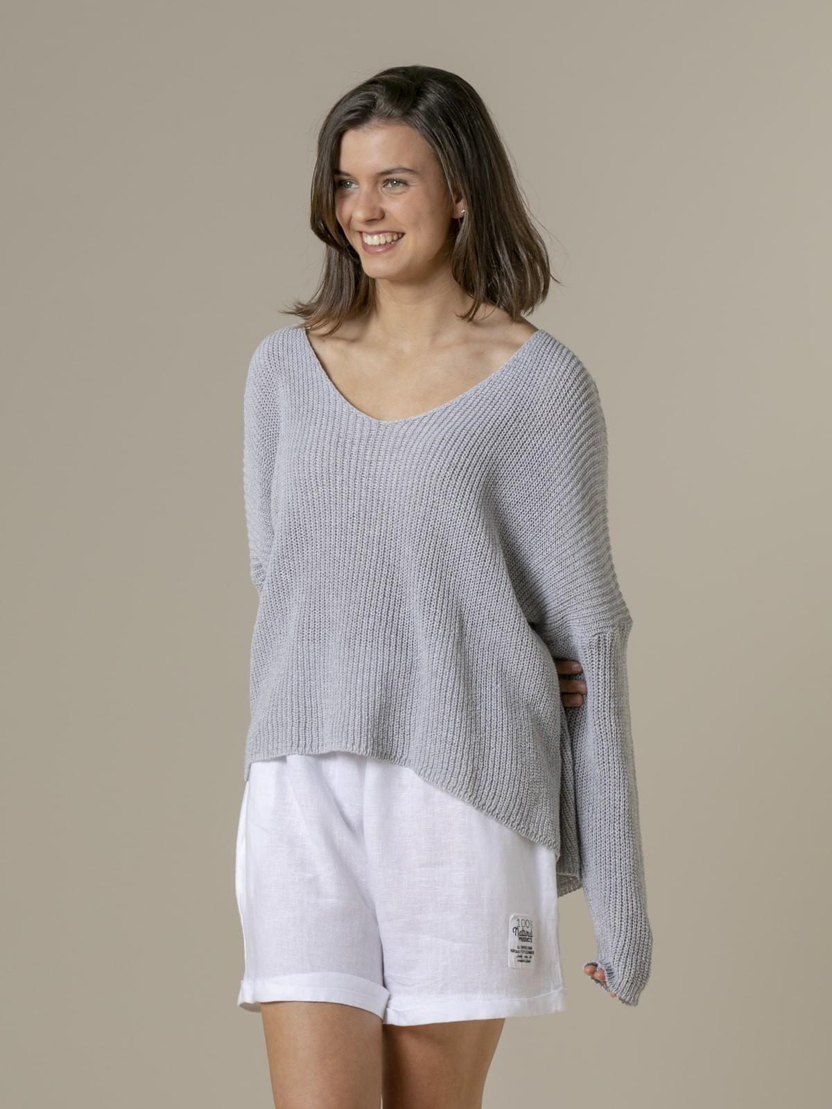 Woman Woman V-neck ribbon knit sweater Grey
