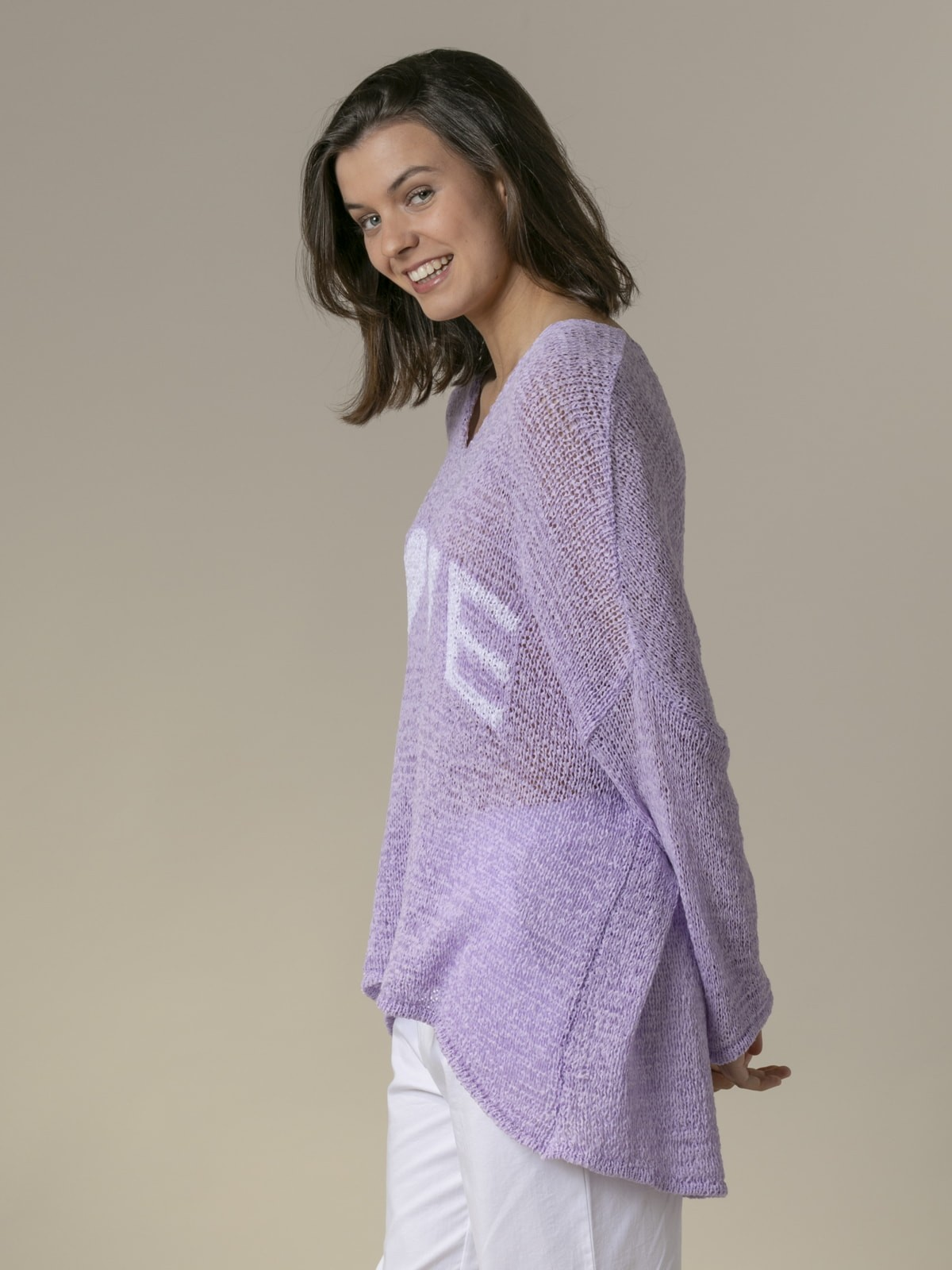Woman Woman Love message knit sweater Lila