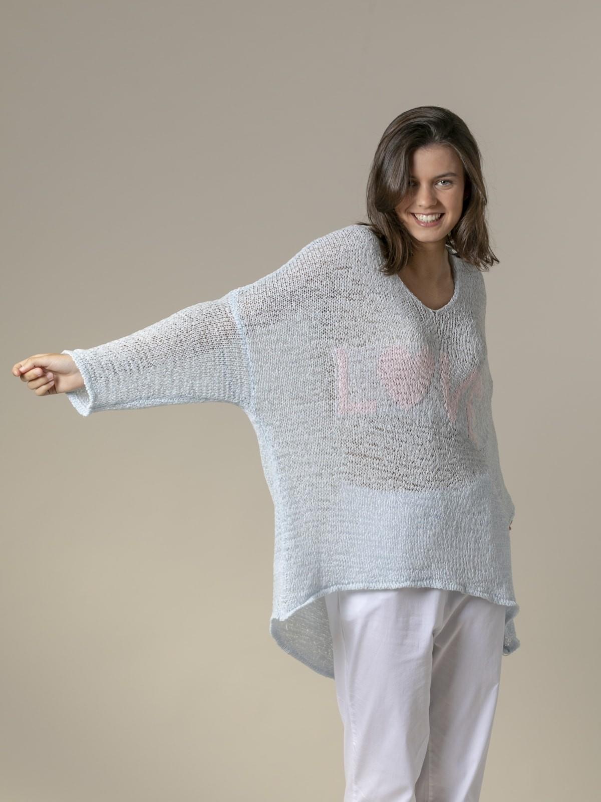 Woman Woman Love message knit sweater Blue