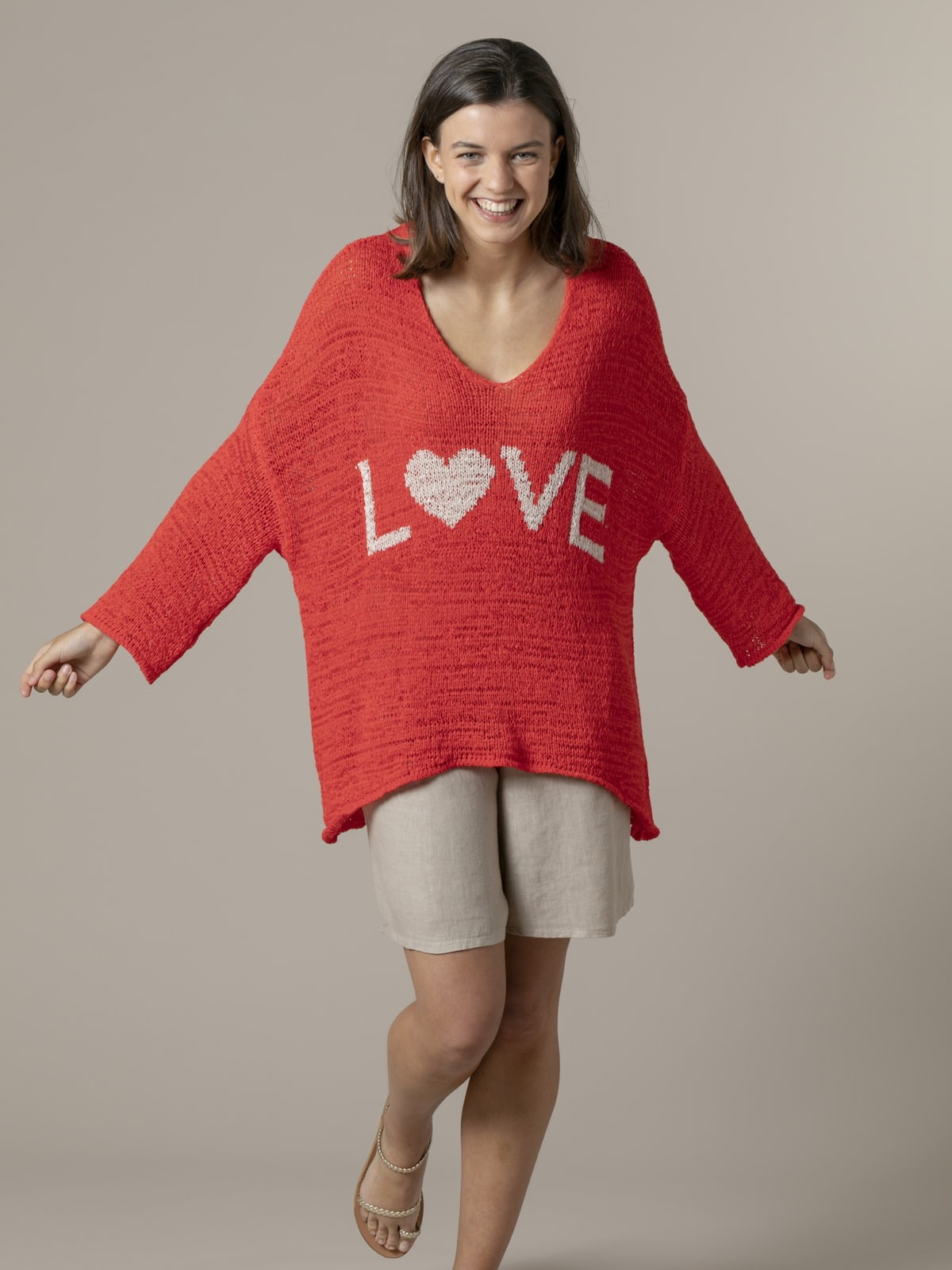 Jersey mujer punto mensaje love Coral