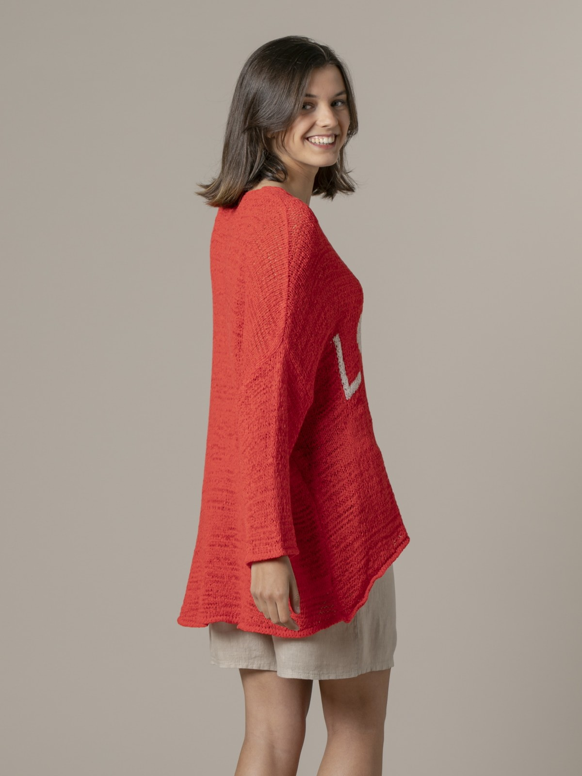 Woman Woman Love message knit sweater Coral