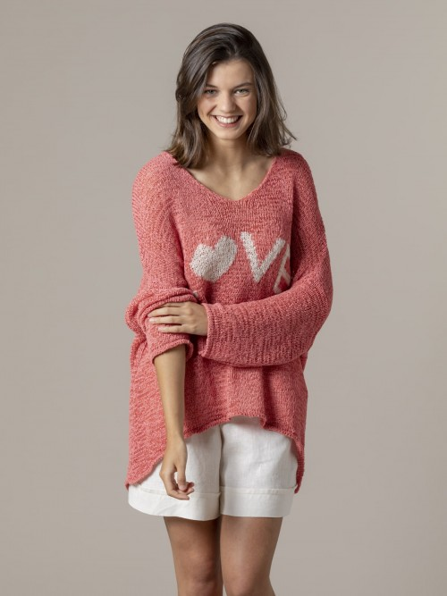 Woman Woman Love message knit sweater Strawberry