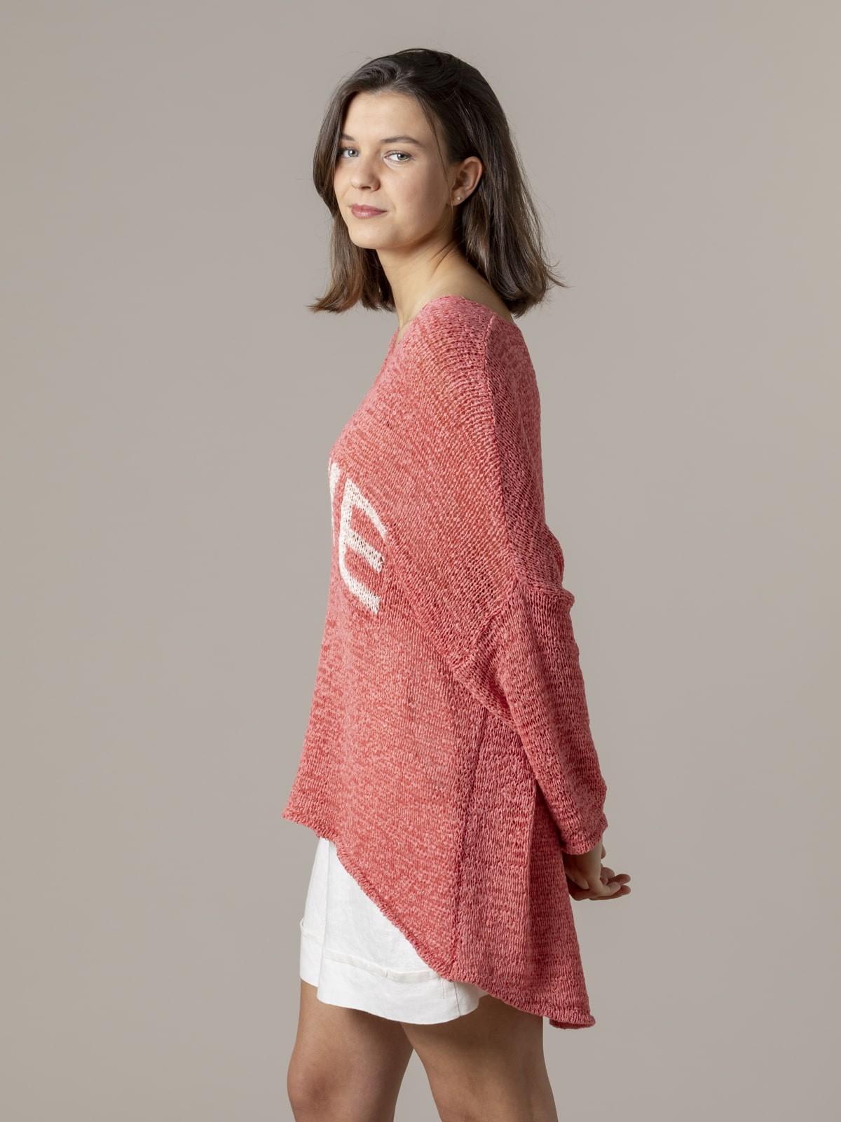 Woman Woman Love message knit sweater Strawberry