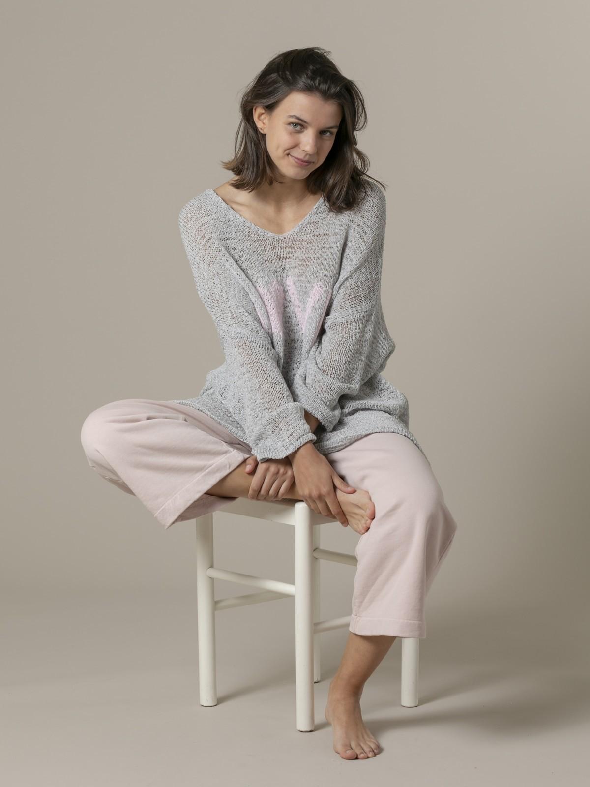 Woman Woman Love message knit sweater Grey