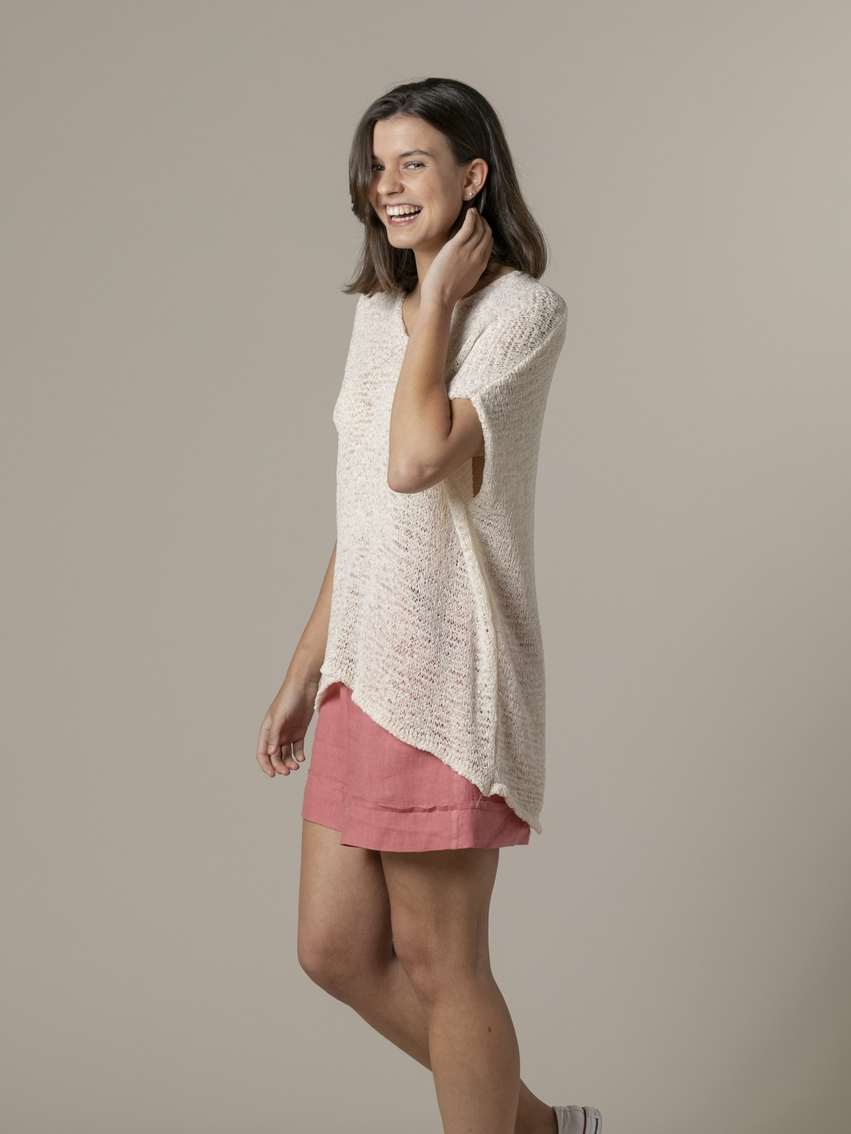 Woman Woman Plain ribbon knit vest Crudo