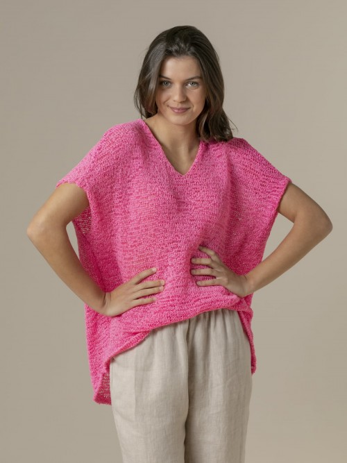 Woman Woman Plain ribbon knit vest Pink fuerte