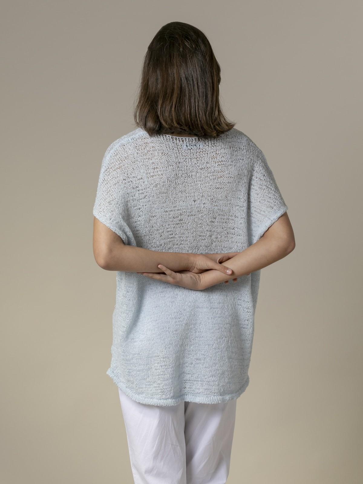 Woman Plain ribbon knit vest Blue Claro