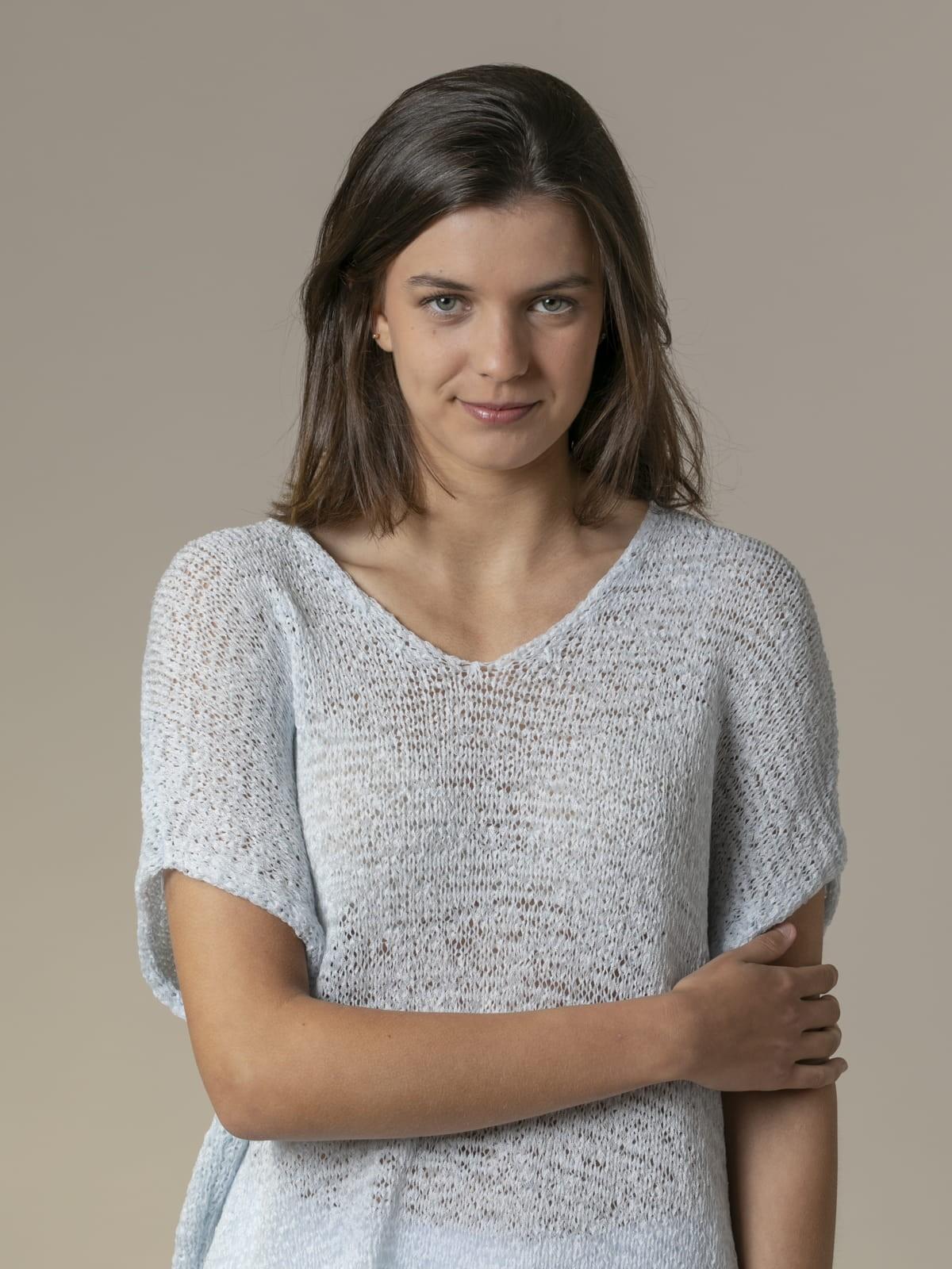 Woman Woman Plain ribbon knit vest Blue Claro
