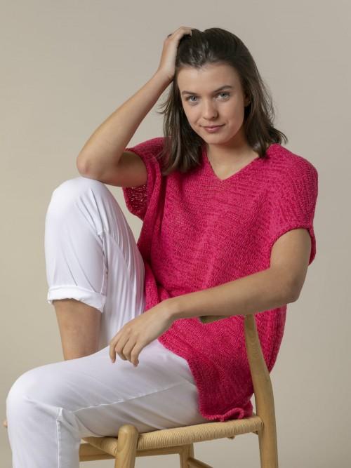 Woman Woman Plain ribbon knit vest Fuchsia