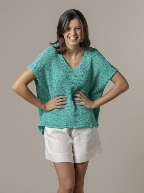 Woman Woman Plain ribbon knit vest Green