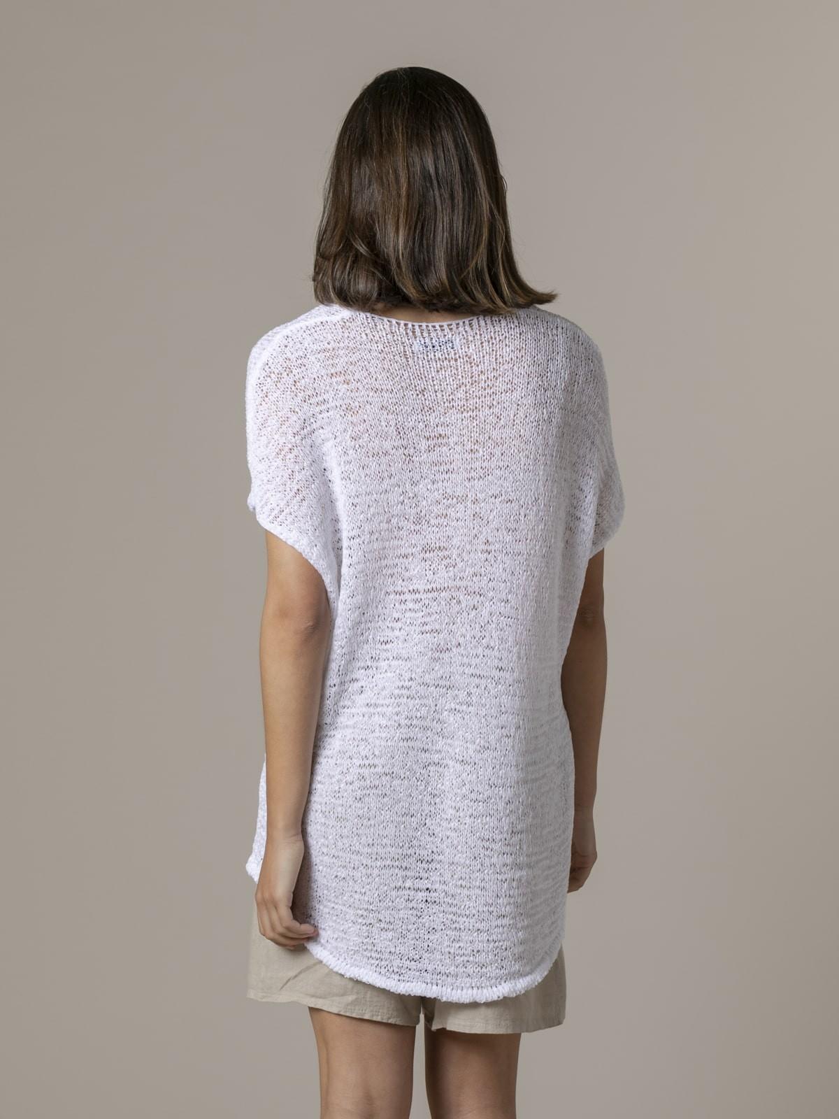 Woman Woman Plain ribbon knit vest White