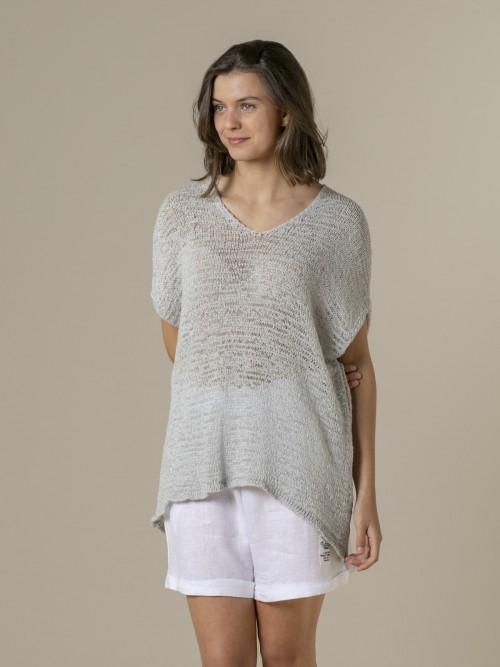 Woman Woman Plain ribbon knit vest Grey