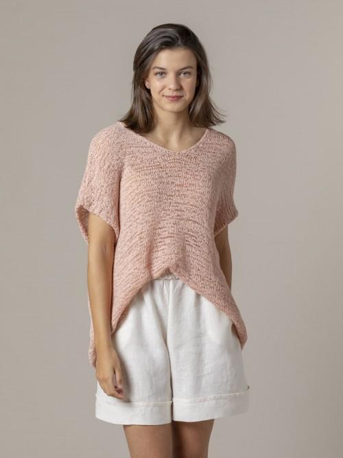 Woman Woman Plain ribbon knit vest Pink claro